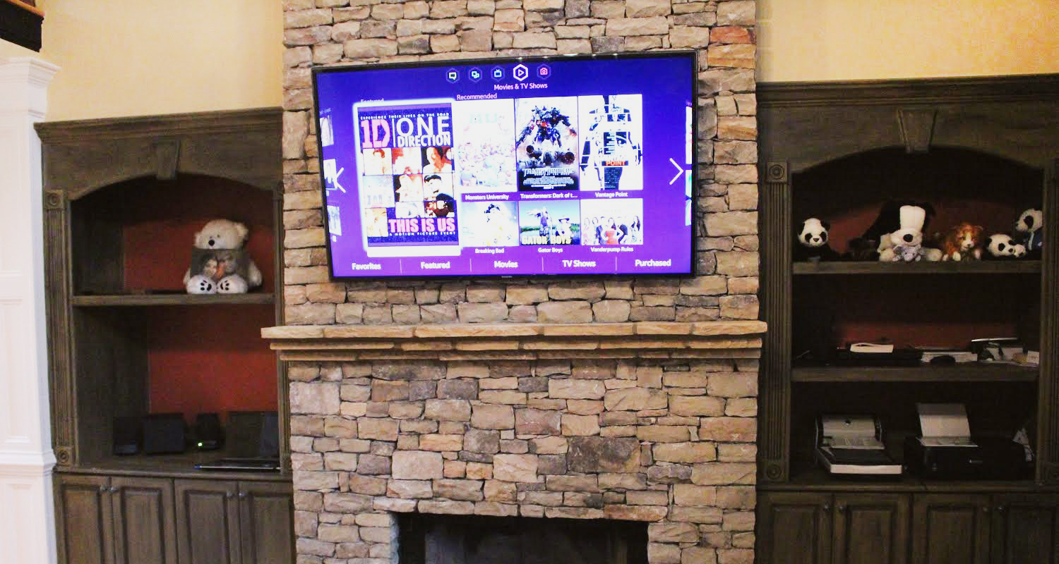 Flat Screen Above Fireplace Where To Put Cable Box Fireplaces